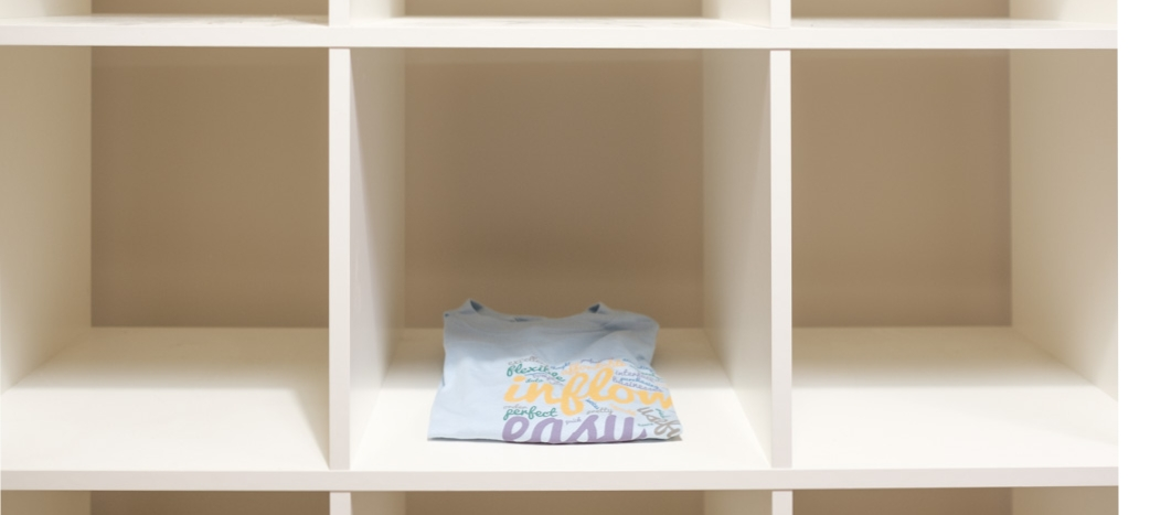 A single t-shirt on empty shelves means it's time to reorder