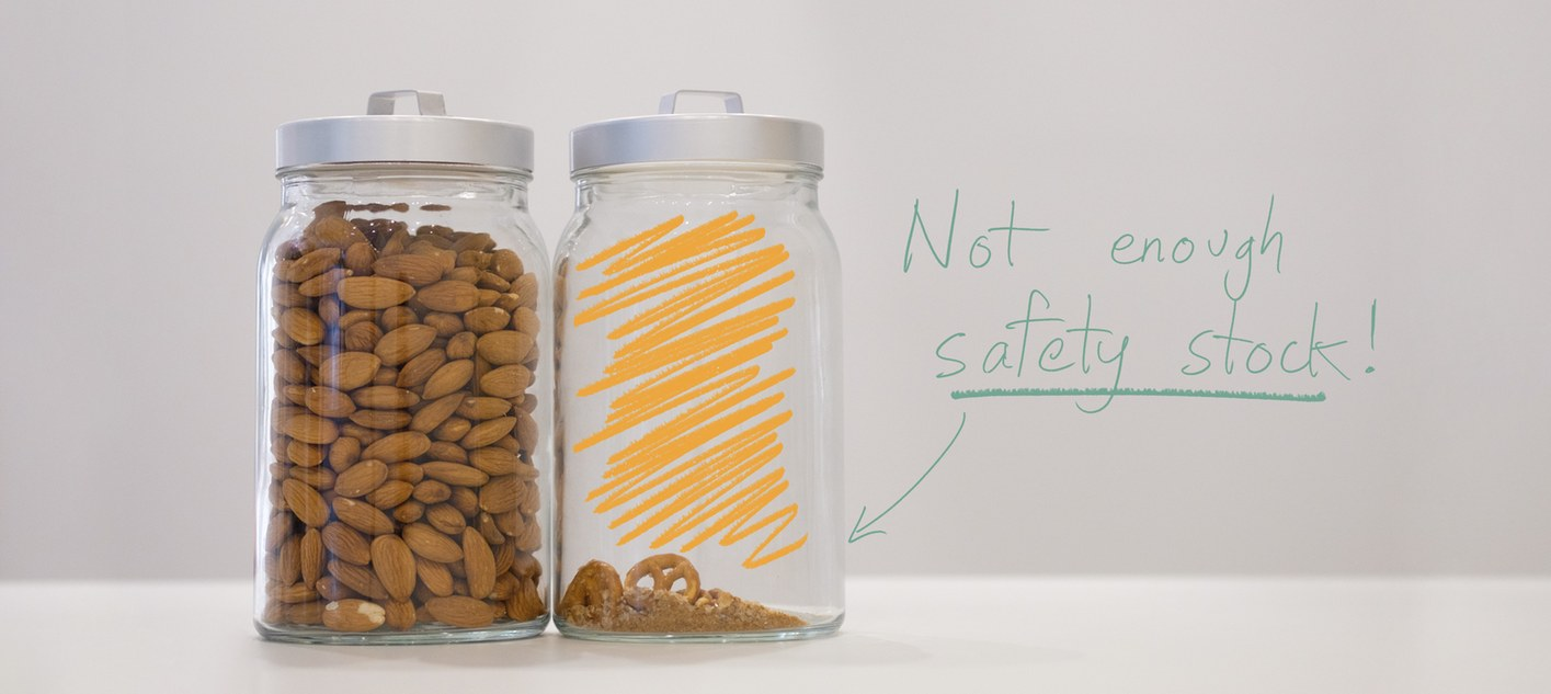 """Two jars, one nearly empty: """"not enough safety stock"""""""