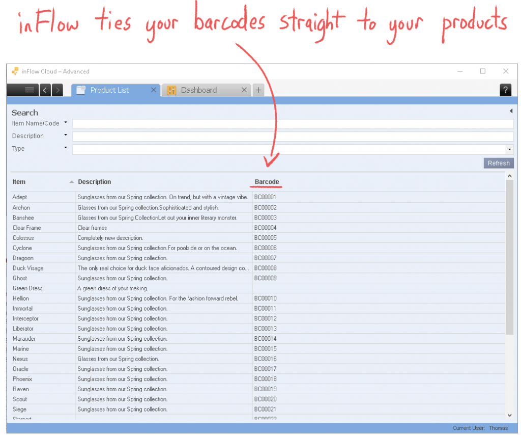 inFlow ties your barcodes straight to your products