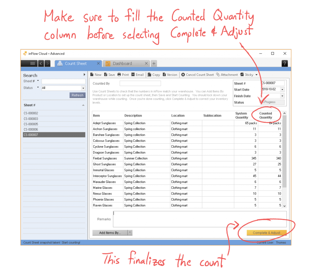 A screenshot of inFlow's count sheet, highlighting the Counted Quantity column to fill out, and the Complete & Adjust button to finish the cycle count