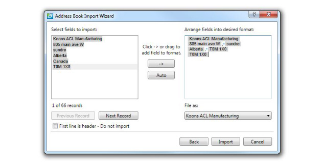 address book import arrange