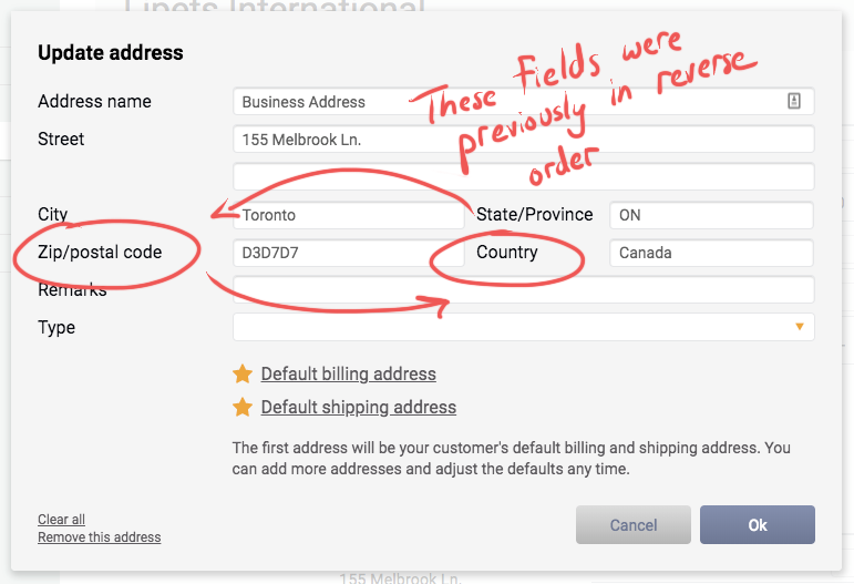 The address fields for Zip/postal code and Country have been reversed