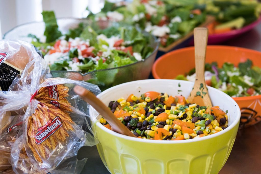 Fresh salads prepared for the relaxing Friday afternoon barbecue