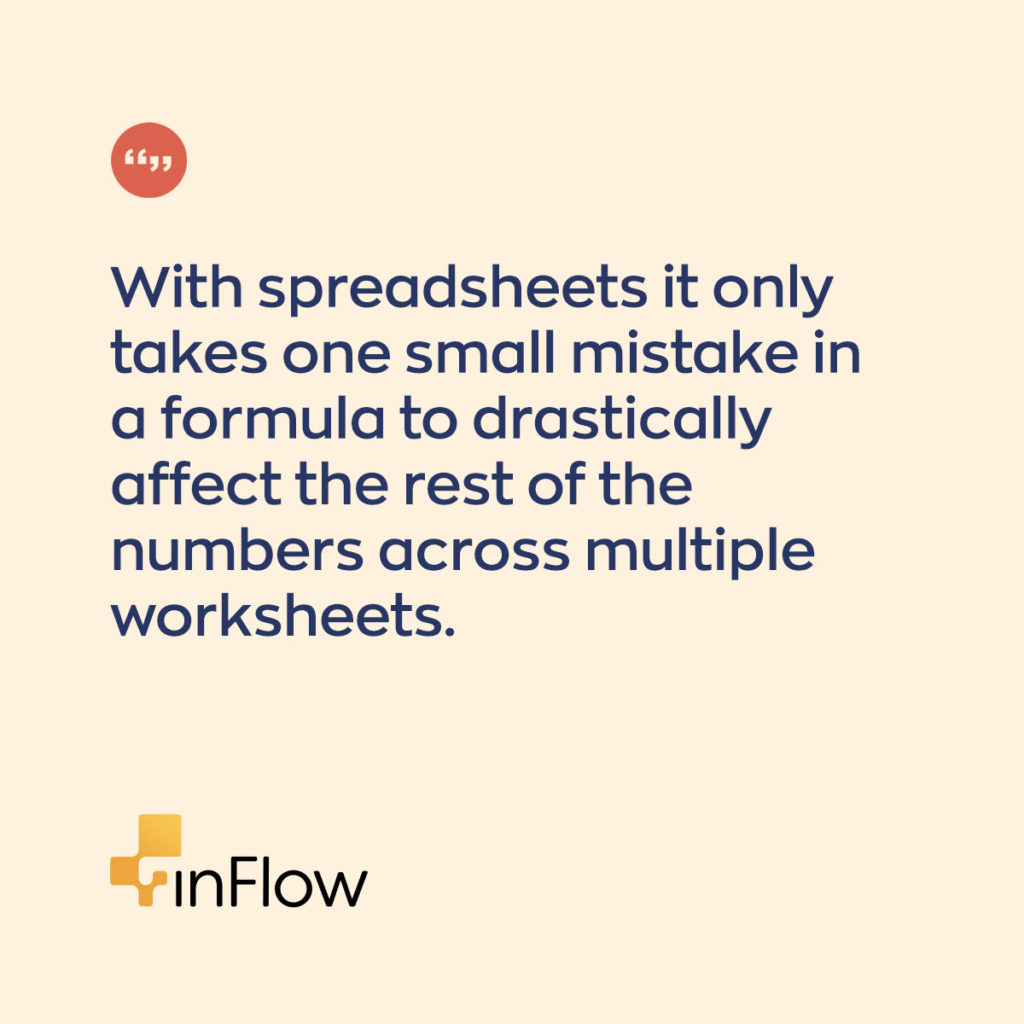 With spreadsheets it only takes one small mistake in a formula to drastically affect the rest of the numbers across multiple worksheets.