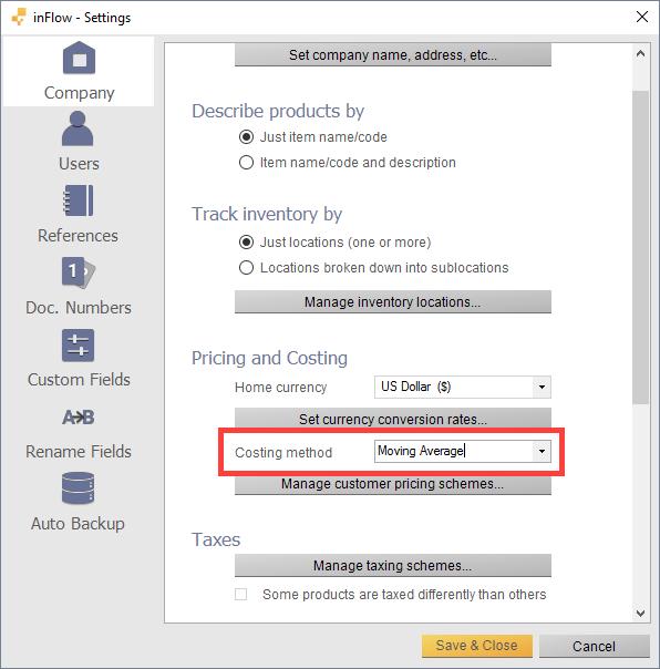 Costing method settings