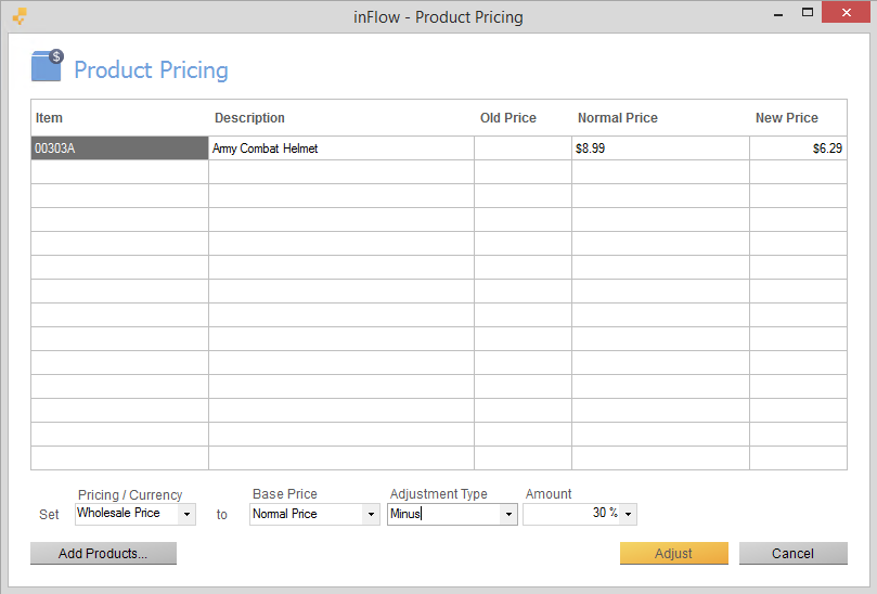 Add products to product pricing screen
