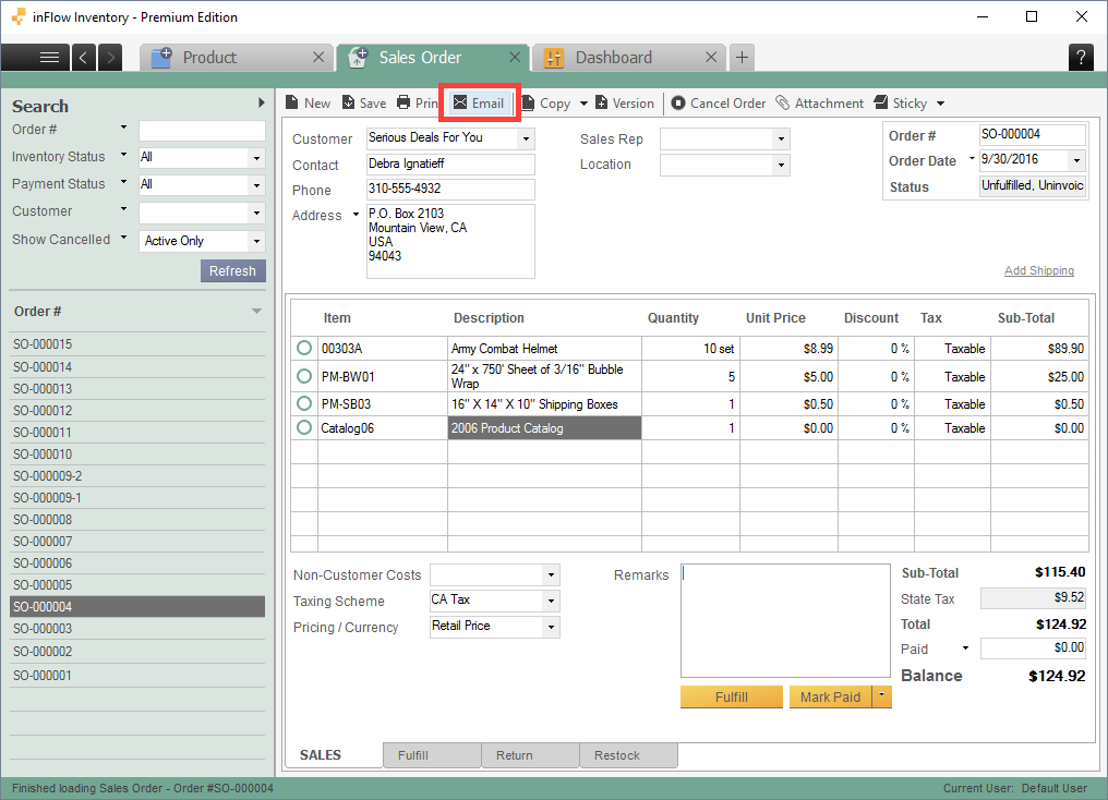 Email from sales/purchase order screen