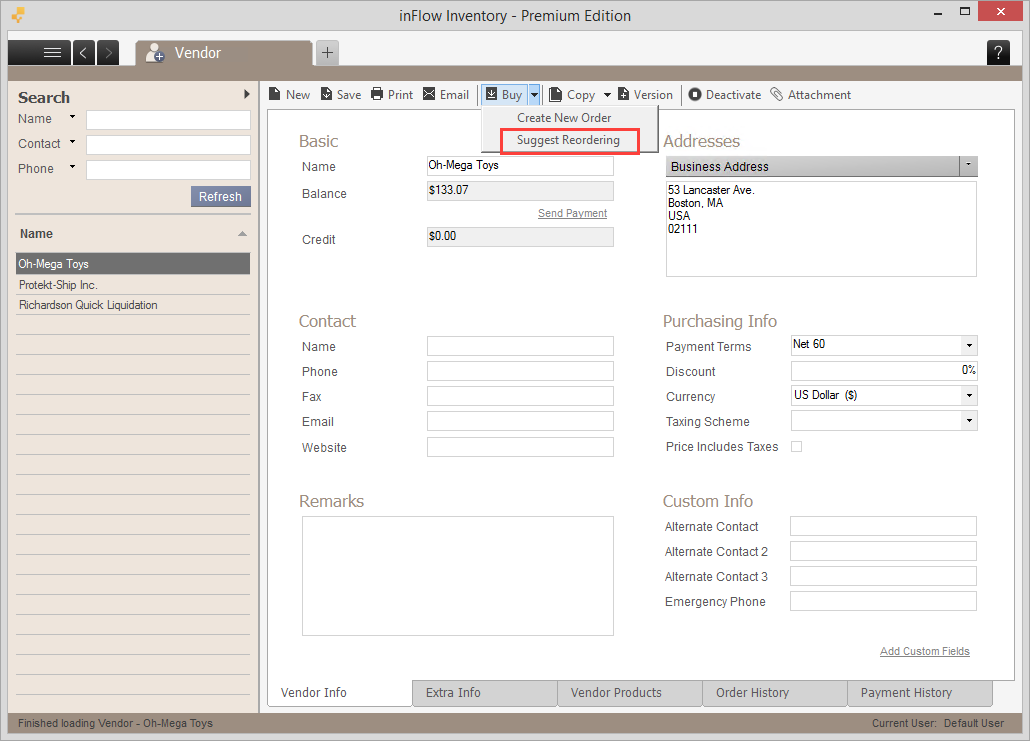 Vendor toolbar (Suggest reordering button)