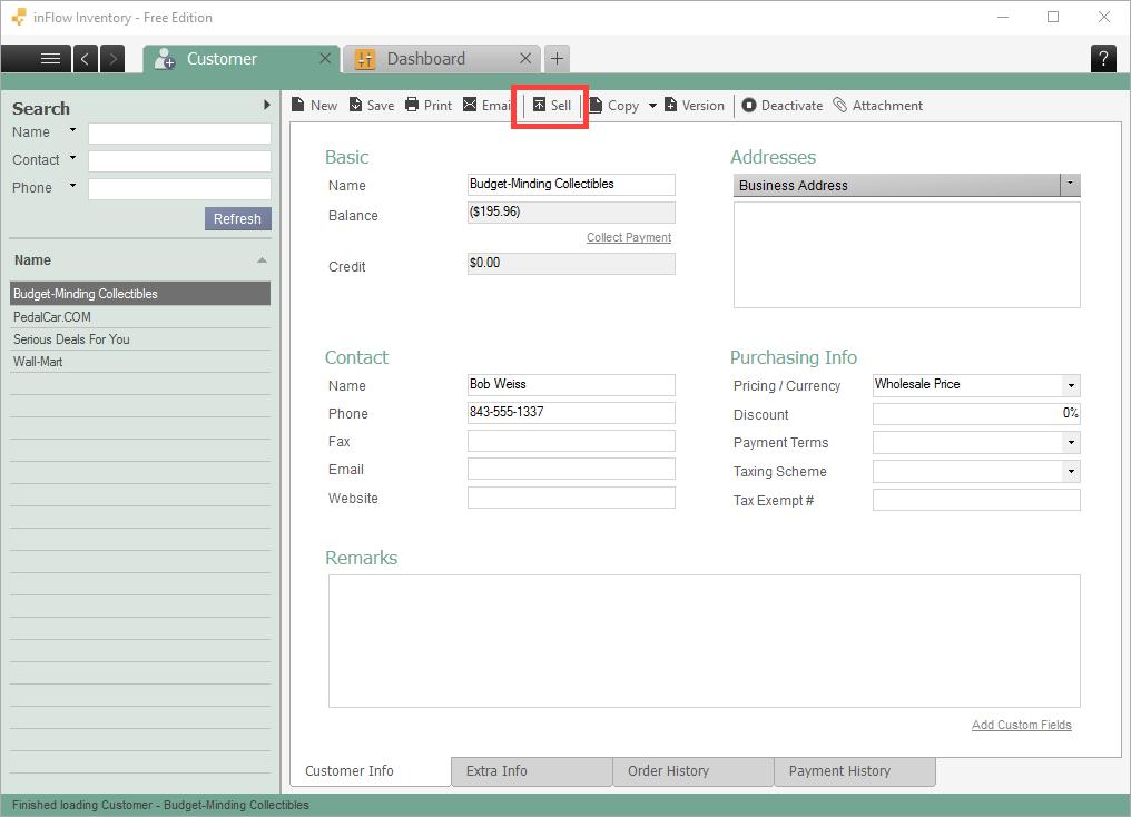 Customer toolbar (sell button)